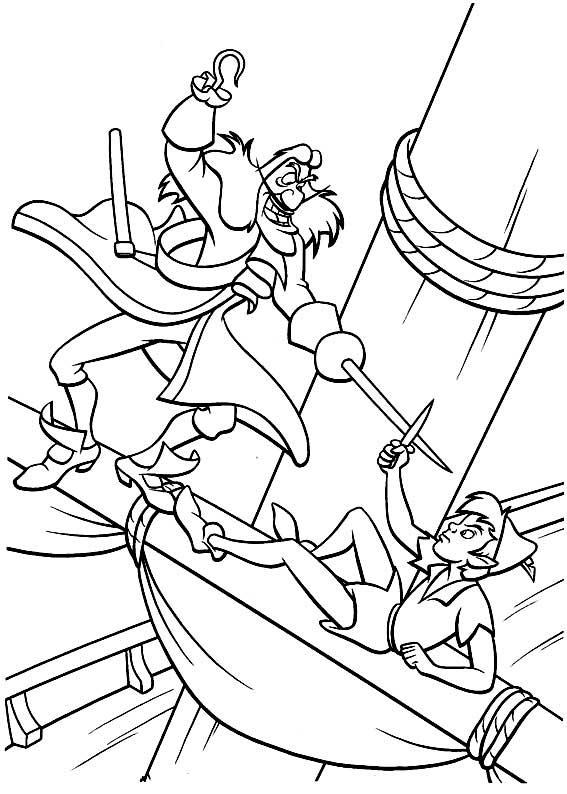 Dibujo de El Capitán Garfio y Peter Pan para colorear