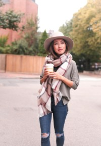 Fall accessories: tan ankle boots + blanket scarf