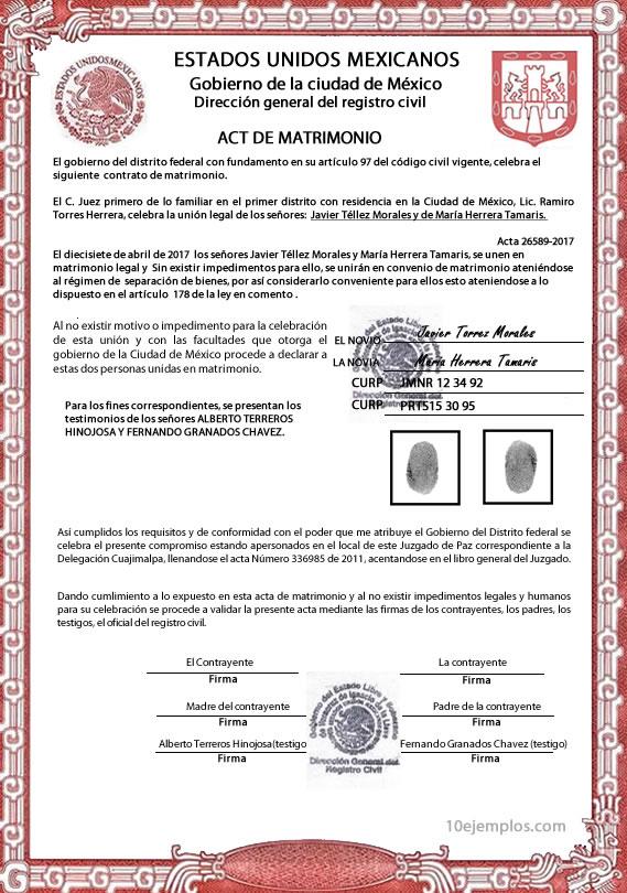 Anulacion Matrimonio Catolico 2017 : Certificado de matrimonio civil
