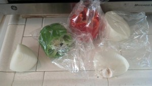 Green pepper, red pepper, onion