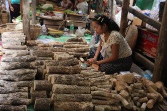 le marché de Nyaung U (bois pour faire le takhana)