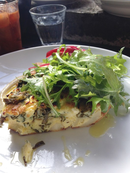 Brussel sprout, flora & parsnip fritatta at Sitka and Spruce