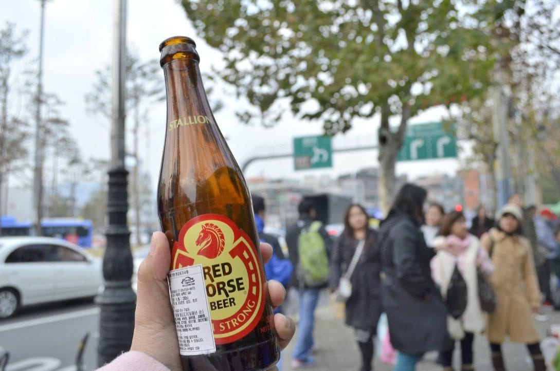 filipino market in seoul red horse beer