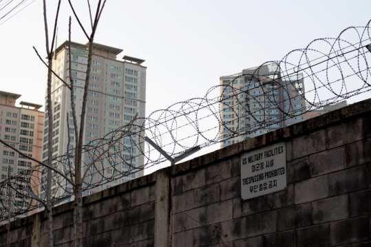 Yongsan Army base wall, Samgakchi Station exit 10