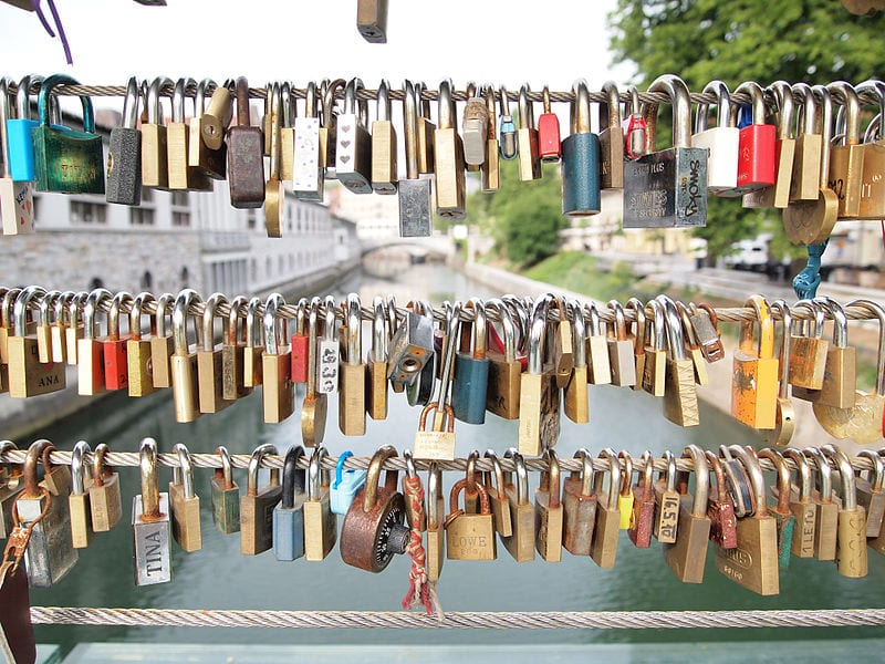 Awesome Love Locks Locations: Butchers' Bridge, Ljubljana, Slovenia