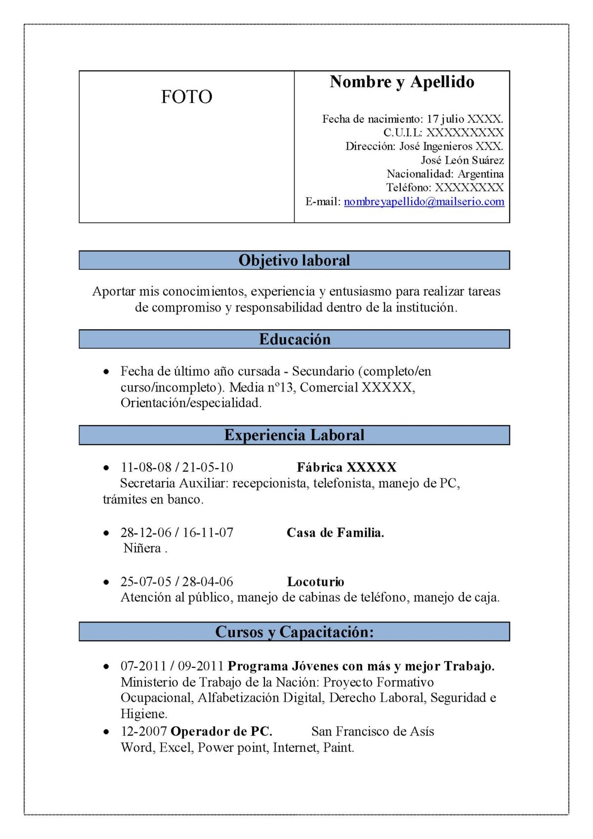 Ejemplos De Curriculum Vitae De Un Ingeniero