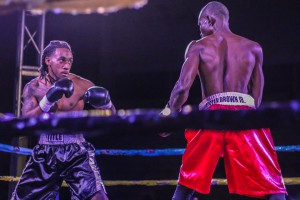 Lester Brown (left) and Pierre Enabe square off