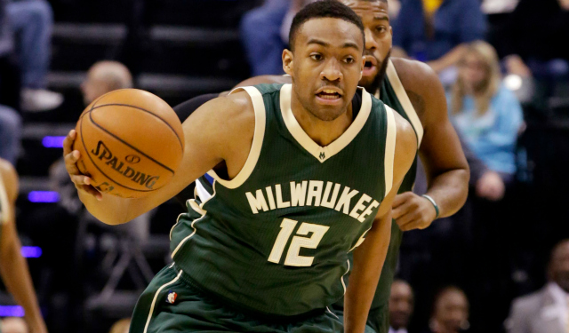Nov 21, 2015; Indianapolis, IN, USA; Milwaukee Bucks forward Jabari Parker (12) dribbles the ball against the Indiana Pacers at Bankers Life Fieldhouse. The The Pacers won 123-86. Mandatory Credit: James Brosher-USA TODAY Sports