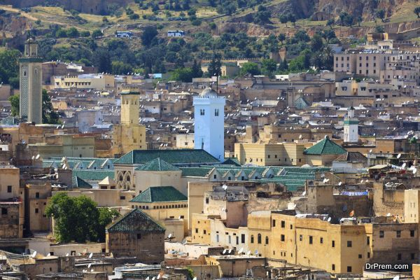 An overview of the the city Fez Medina, The building with green roof is the famous The Mosque of al-Qarawiyyin (Kairaouine Mosque)