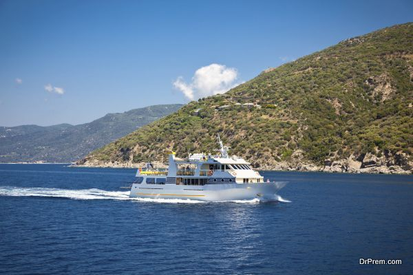 Touristic  boat , Halkidiki, Greece.. The boat transport tourists around holy Athos peninsula, Halkidiki,  Greece.