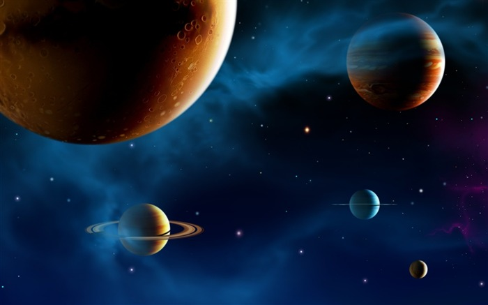 14 CG illustrator space planet universe-the universe stars planets picture