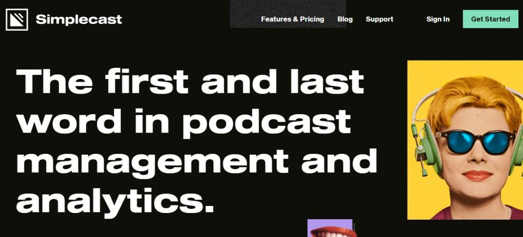 Simplecast podcast homepage, 4th in the list but ranks top with its analytics platform.