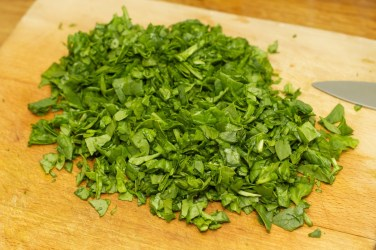 Spinazie risotto met asperges gewikkeld in Seranoham 34