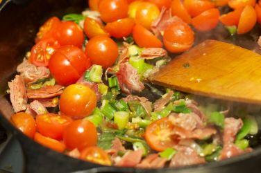 Pasta met gegrilde pompoen en portobello 9