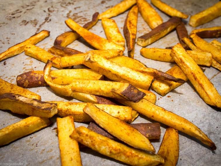 Zoete aardappel friet uit de oven-9