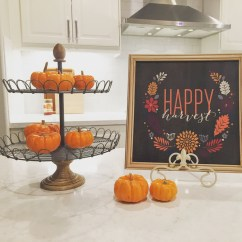 Fall Kitchen Decor How To Redo Cabinets On A Budget My Web Value Modern Farmhouse Pumpkins Tiered Tray