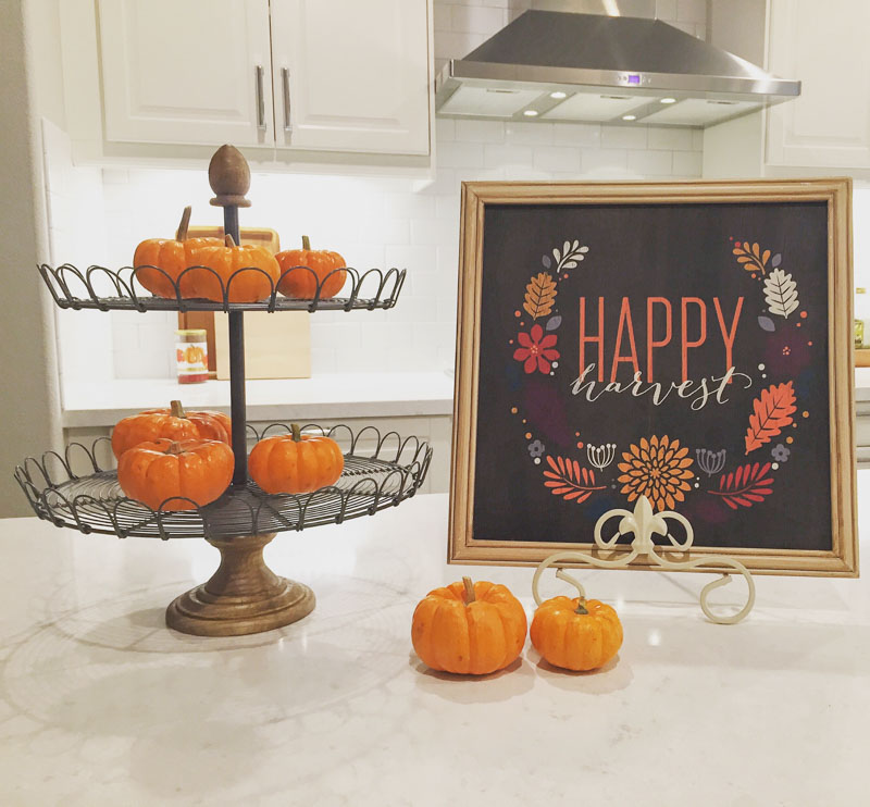 fall kitchen decor restoration hardware table my web value modern farmhouse pumpkins on a tiered tray