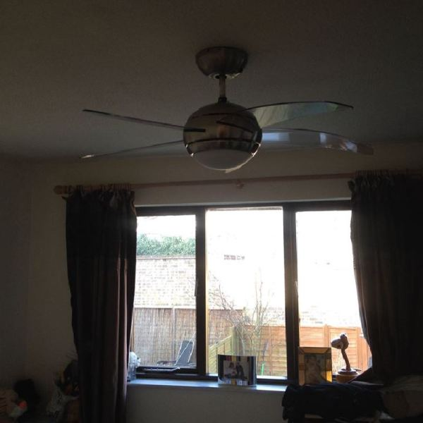 Bedroom with new fan light fitting