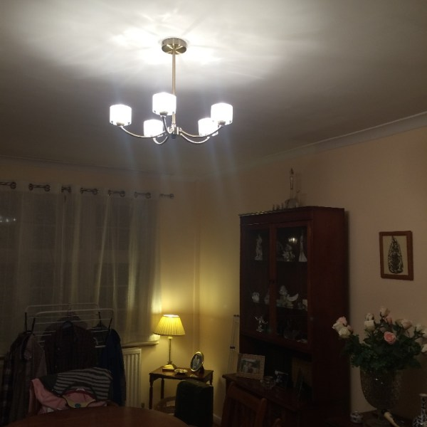 Room with new ceiling light on