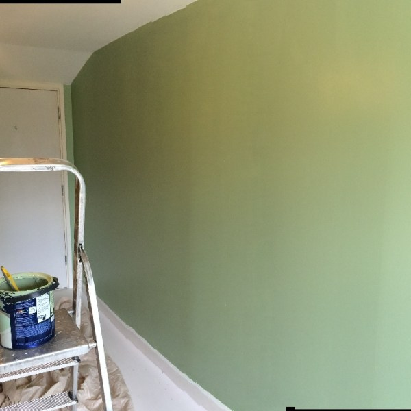 wall painted in green