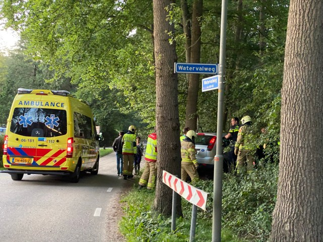Auto beland in de bossages in Ermelo