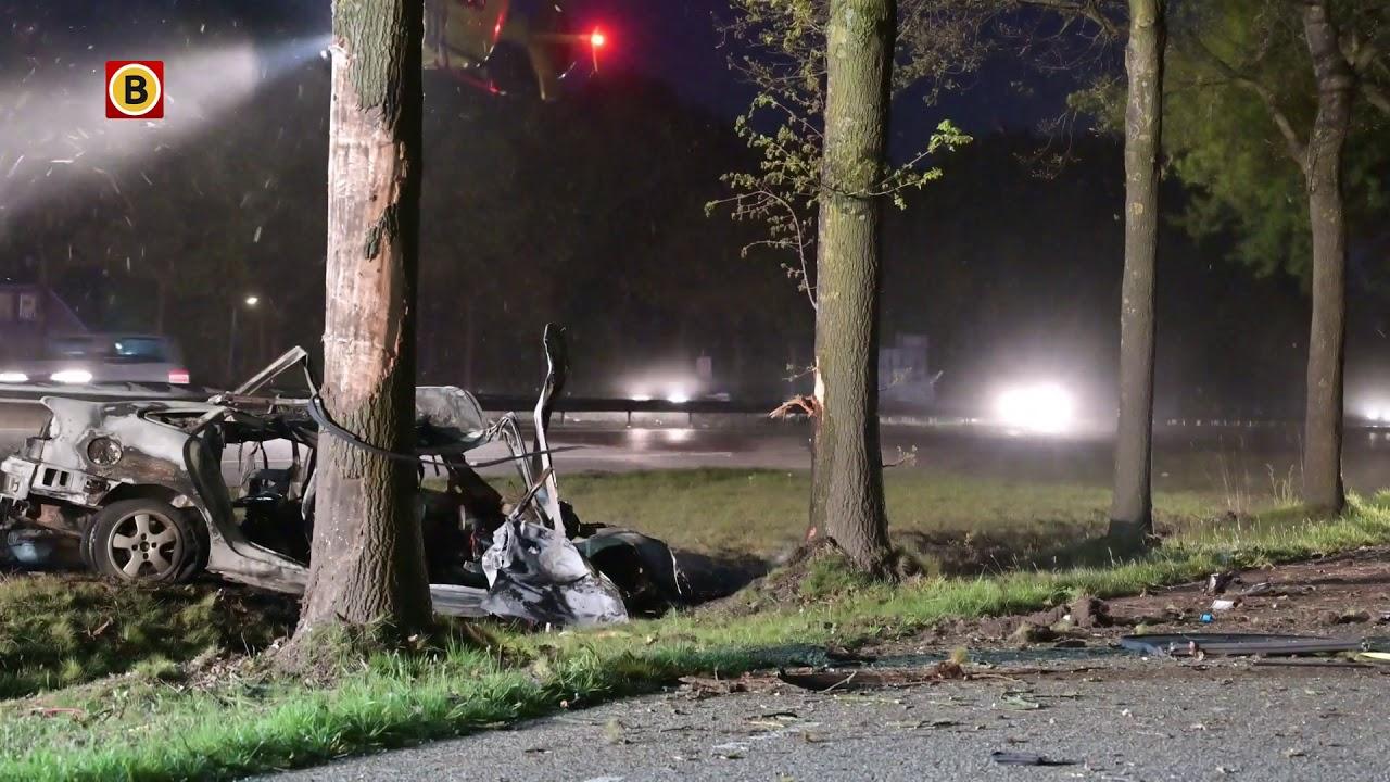 Man overleden bij ongeval op A58, auto vliegt in brand.