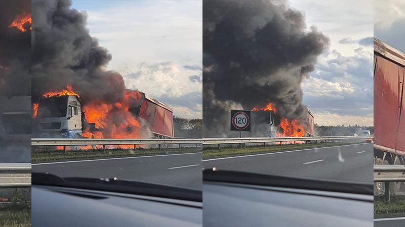 Grote brand na ongeval op de A50.