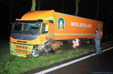 Veel schade aan de vrachtwagen
