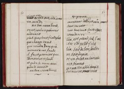 Manuscrit autographe de Madame du Châtelet, Recueil de poètes classiques français, XVIIIe siècle, Ms 2375, p 50-51, Médiathèque du Grand Troyes, Photo P. Jacquinot