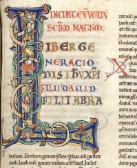Lettrine enluminée, Biblia latina, pars secunda, XIIe siècle, MS 458, vol 2, Médiathèque du Grand Troyes, photo P. Jacquinot