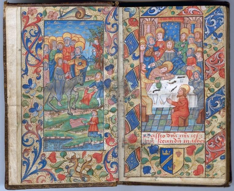 Manuscrit MS 3907, passionnaire et hymnaire du XVIe siècle, comportant 28 miniatures. Ici l'entrée à Jérusalem et le dernier repas avec les Apôtres. Médiathèque du Grand Troyes, photo P. Jacquinot