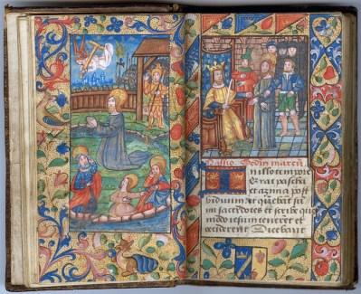 Manuscrit MS 3907, passionnaire et hymnaire du XVIe siècle, comportant 28 miniatures. Ici Jésus au jardin des Oliviers et Jésus devant Hérode. Médiathèque du Grand Troyes, photo P. Jacquinot