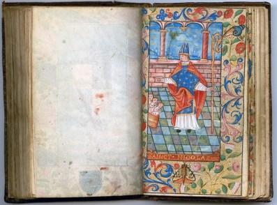 Manuscrit MS 3907, passionnaire et hymnaire du XVIe siècle, comportant 28 miniatures. Ici saint Nicolas. Médiathèque du Grand Troyes, photo P. Jacquinot