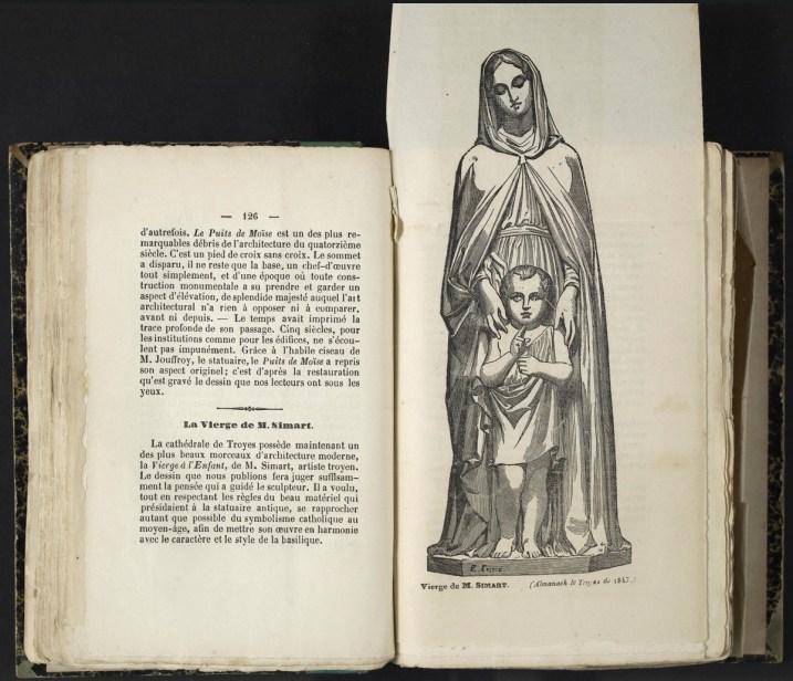 Vierge de Simart : Almanach de Troyes 1847 : 1ère année, pages 126-127.Cab. loc. 12° 1068. Médiathèque du Grand Troyes. Photo: P. Jacquinot