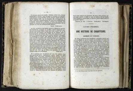 Une histoire de chauffeurs : Almanach de Troyes 1848 : 2ère année, pages 91-92-93. Cab. loc. 12° 1068. Médiathèque du Grand Troyes. Photo: P. Jacquinot