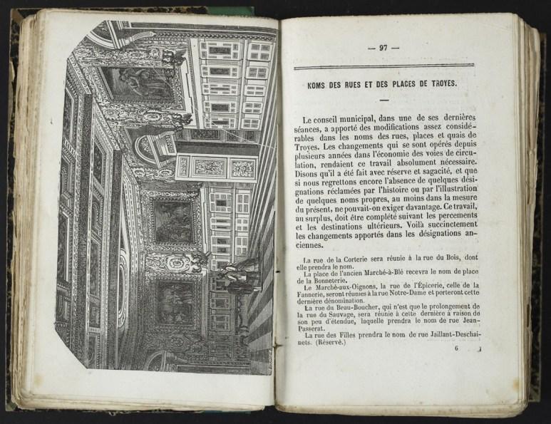Nom des rues et des places de Troyes. Almanach de Troyes 1852. Médiathèque du Grand Troyes. Photo: E. Bord