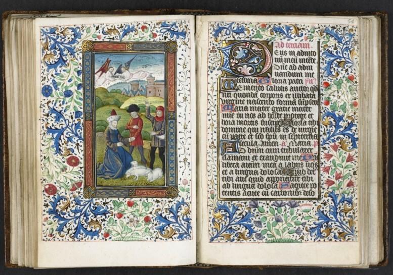 feuillet 50 v°-51 r° : L'annonce aux bergers. Médiathèque du Grand Troyes. Photo Pascal Jacquinot