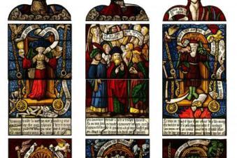 (de g. à d.) Panneaux des Triomphes de la Renommée, de l'Eternité et du Temps. Vitrail des Triomphes de Pétrarque d'Ervy-le-Châtel. Anonyme, vers 1502. Photo Cité du Vitrail
