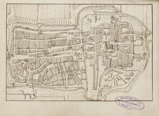 Plan du Bouchon de Champagne au milieu du XVIIIe siècle. Mémoires historiques et chronologiques des Antiquités de la Ville de Troyes par Duhalle, 1753.