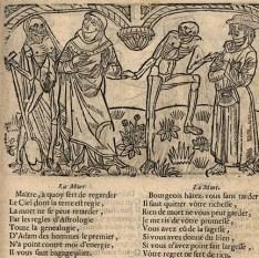 L'astrologue et le bourgeois sont conduits à la mort par deux squelettes. La grande Danse macabre, XVIIe-XVIIIe siècles, Cahier B ii. Photo Médiathèque de Troyes Champagne Métropole