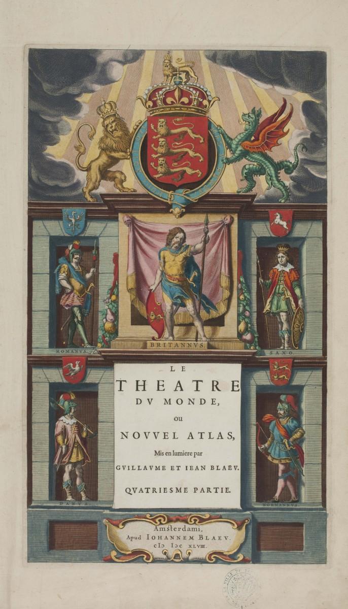 La page de titre du Théâtre du Monde, publié en 1649 chez Jean Blaeu. Photo Médiathèque de Troyes Champagne Métropole