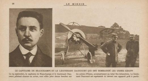 """""""Le Miroir"""", journal hebdomadaire, raconte l'exploit de Beauchamp et Daucourt dans un numéro d'octobre 1916. Source : Gallica"""