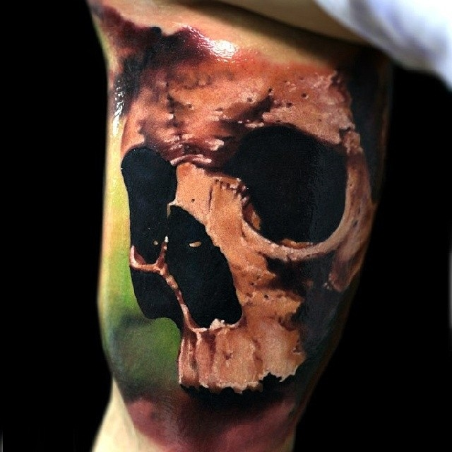 Awesome Realistic 3d Skull Tattoo Design Idea Made By Oleg