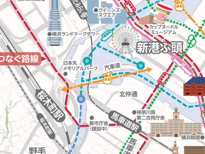 みなとみらいに誕生するロープウェー「YOKOHAMA AIR CABIN(仮称)」のルートマップ