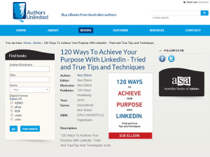 Authors Unlimited Sue Ellson 120 Ways To Achieve Your Purpose With LinkedIn