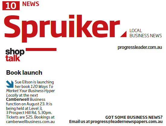 Progress Leader Newspaper 120 Ways To Market Your Business Hyper Locally Book Launch Announcement