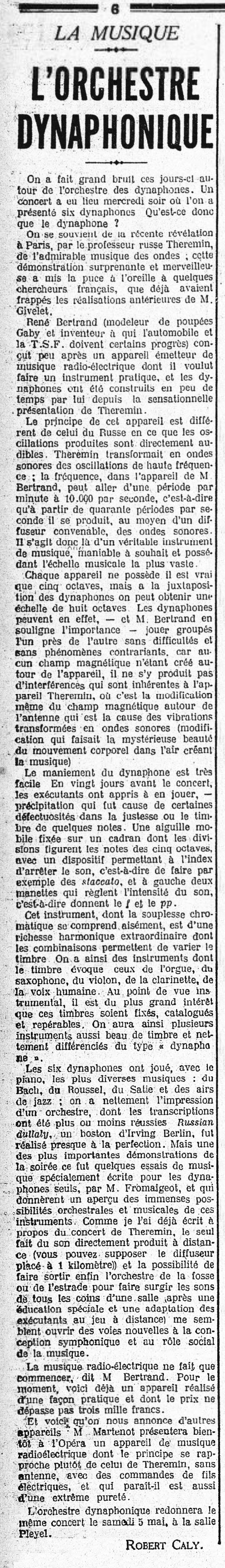 Review from 'Numéro Le Gaulois' February 12th 1982.
