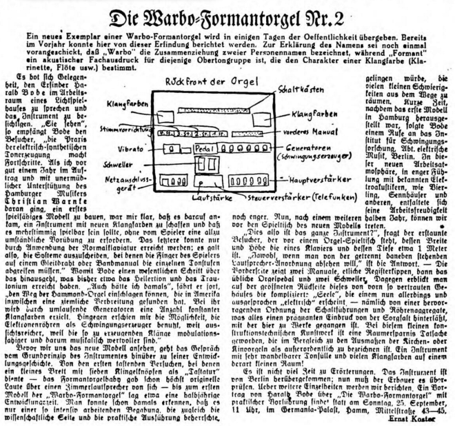 The Warbo Formant Orgel from the Hamburger Anzeiger. 21 September 1938.