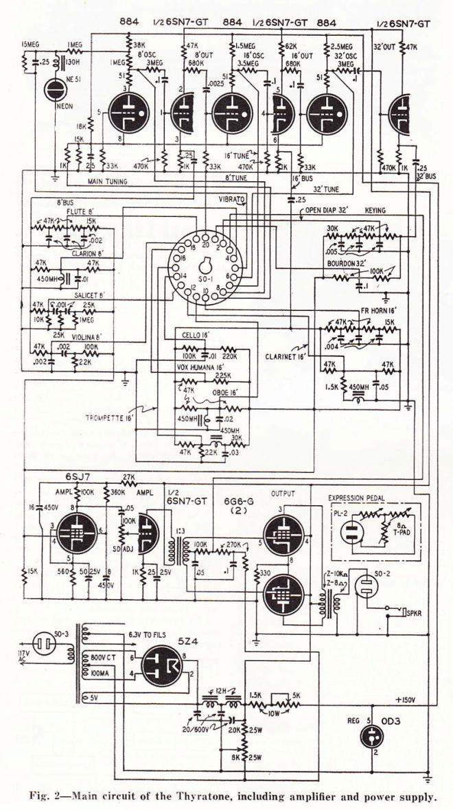 Thyratone tone unit and amplifier circuit diagram