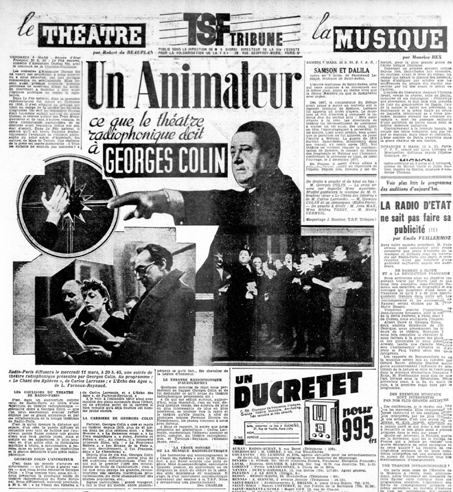 "The film actor Georges Colin presents Obukhov's ""Chants Des Spheres "" with the chorus and the Croix Sonore. Photo; L'Ouest-Éclair March 6th 1936."